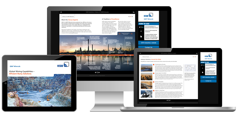 Pages from a client brochure viewed on different devices