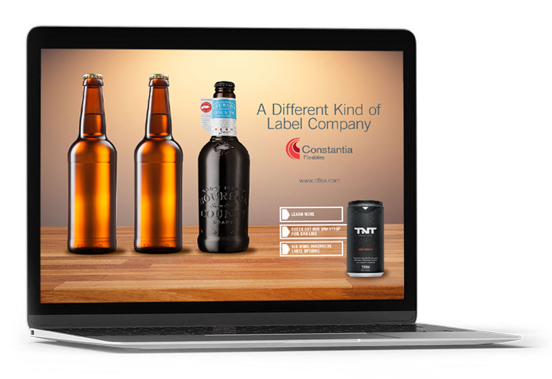 Digital magazine advert viewed on a laptop